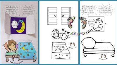 uyku duası, uyku kes yapıştır , okul öncesi, 3d etkinlikuyku etkinliği,boyama sayfası, OKUL ÖNCESİ,
