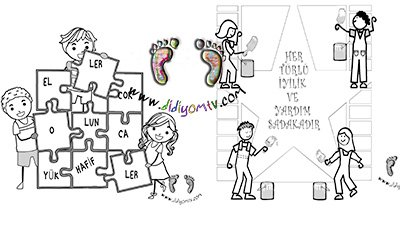 yardımlaşma boyama sayfası, değerler eğitimi, okul öncesi