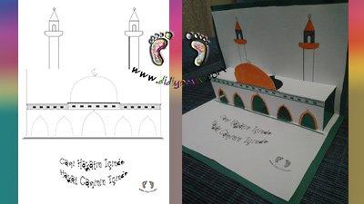 3d cami, kes yapıştır boya, camiler haftası, cami , cami etkinliği boyama sayfası