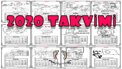 2020 Takvimi Boyama - Boyamalı Takvim Okul Öncesi