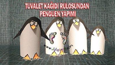 Penguen Yapımı-Tuvalet Kağıdı Rulosundan Penguen Yapma , RULODAN PENGUEN YAPMA penguin
