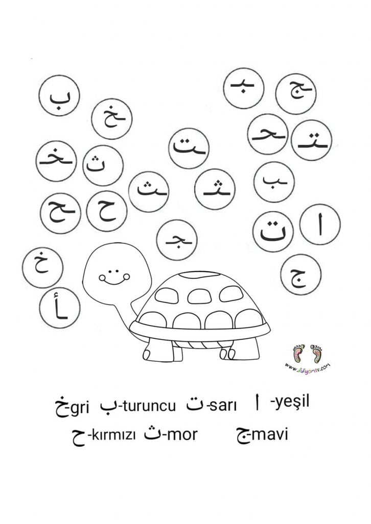 elif ba Başta Ortada Sonda Alıştırmaları-kaplumbağa boyama sayfası