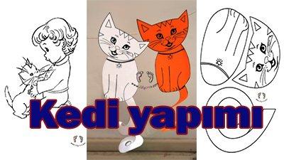 Kedi Yapımı - Boya, Kes, yapıştır, - Ayşegül'ün kedisi etkinliği