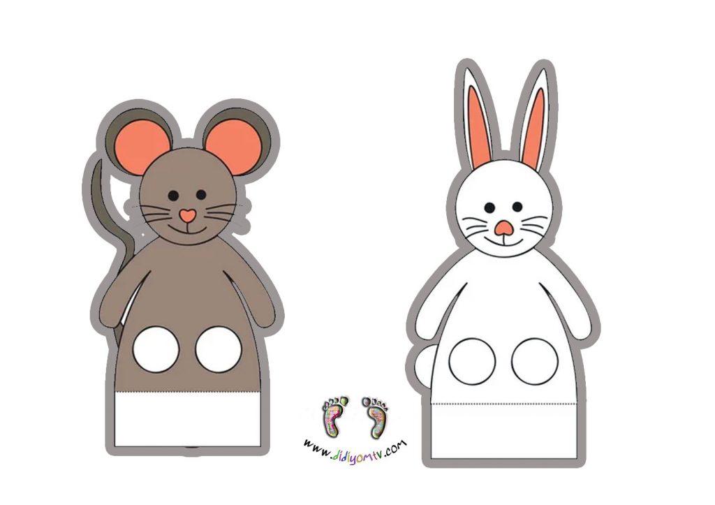 parmak kukla tavşan fare okul öcesi kukla şablonu