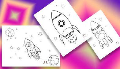 Roket Boyama Sayfası – Basit Boyama sayfaları