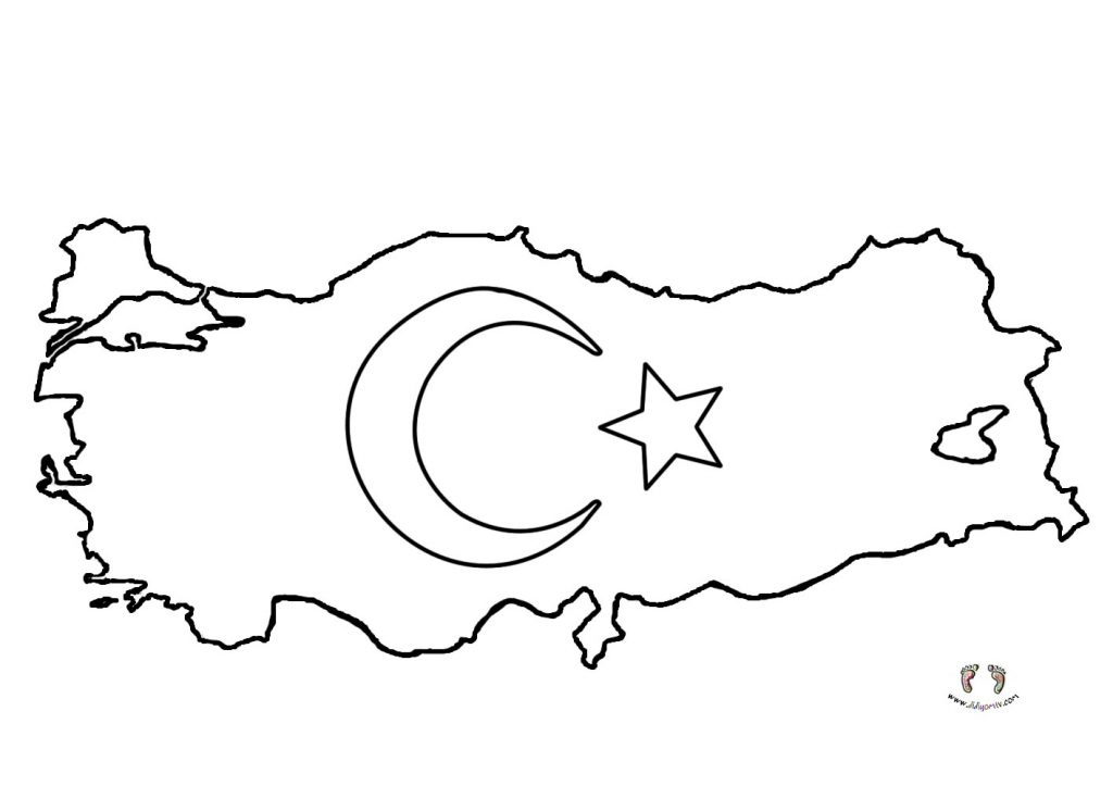 Türkiye Haritası Boyama - Türkiye Haritası Bayrak Boyama