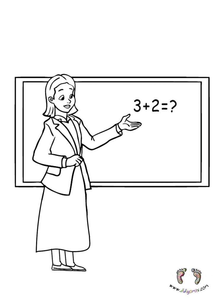 Meslekler Boyaması - Meslekler Boyama Sayfaları, öğretmen boyama