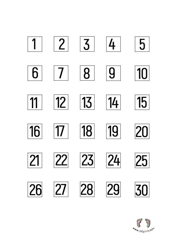 30 kadar rakamlar, sayılar