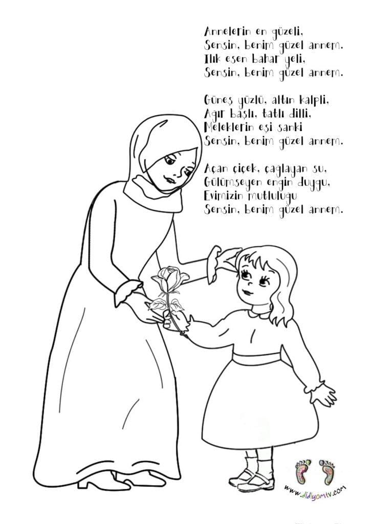 Anneler Günü Boyama Sayfası, Anneler Günü Boyama, Annelerin en güzeli şiiri
