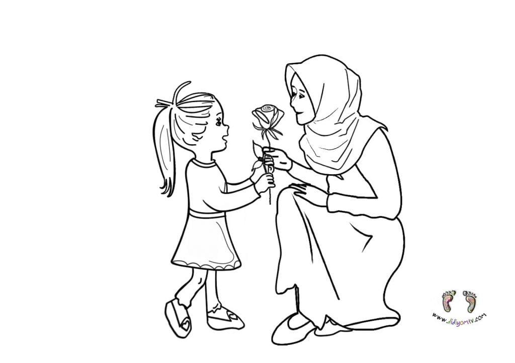 Anneler Günü Boyama Sayfası - Anneler Günü Boyama