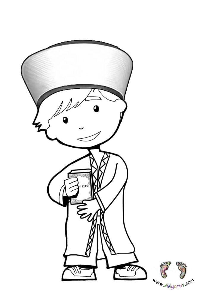 meslekler boyama okul öncesi- Meslekler Boyama Sayfaları, imam boyama sayfası