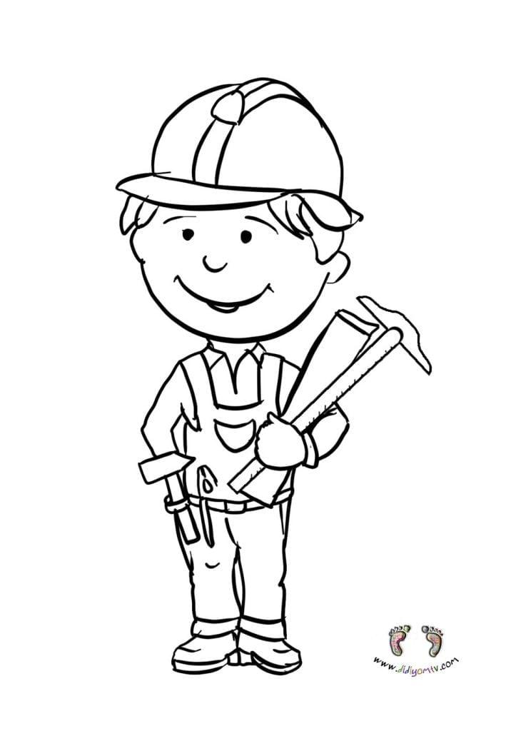 Meslekler Boyaması - Meslekler Boyama Sayfaları, mühendis boyama