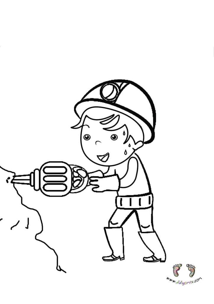 meslekler boyama okul öncesi- Meslekler Boyama Sayfaları, madenci boyama sayfası
