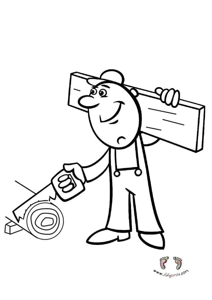 Meslekler Boyaması - Meslekler Boyama Sayfaları, marangoz boyama