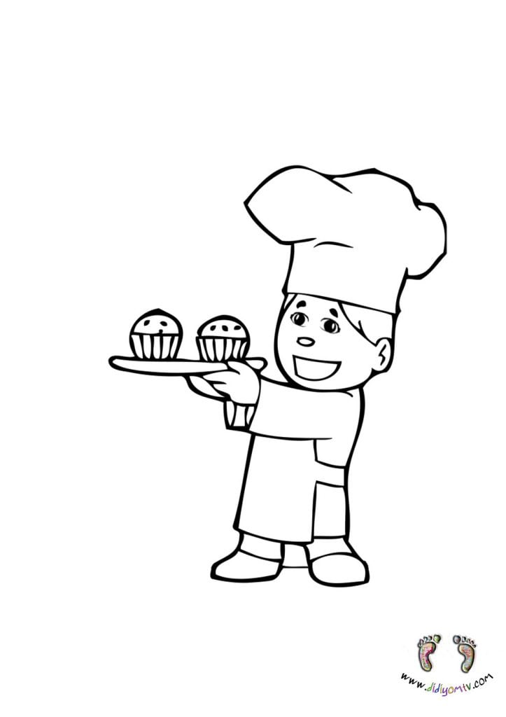 Meslekler Boyaması - Meslekler Boyama Sayfaları, aşçı boyama