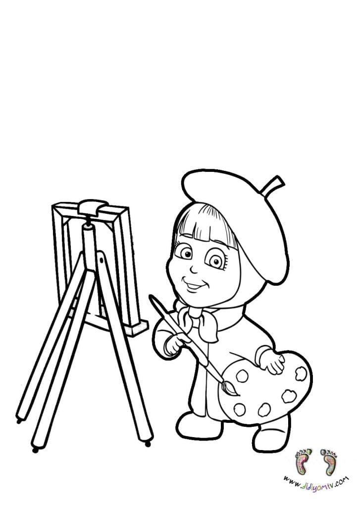 meslekler boyama okul öncesi- Meslekler Boyama Sayfaları, ressam boyama sayfası, masha boyama, maşa
