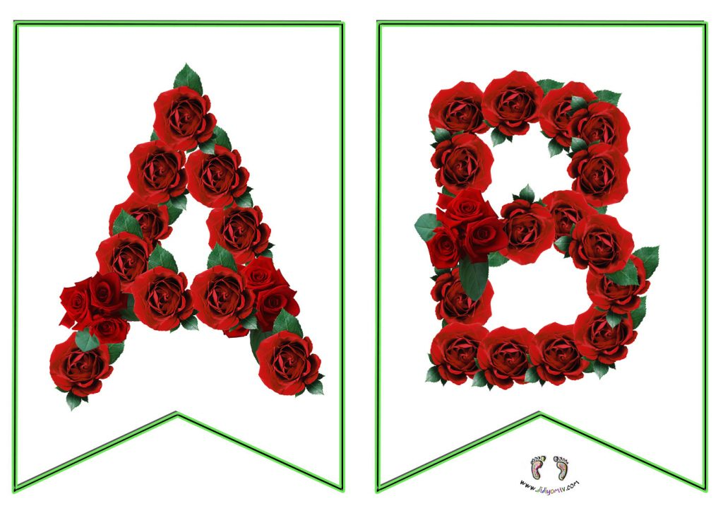 Gül Harfler - Alphabet Red Rose - Alfabe Flaması