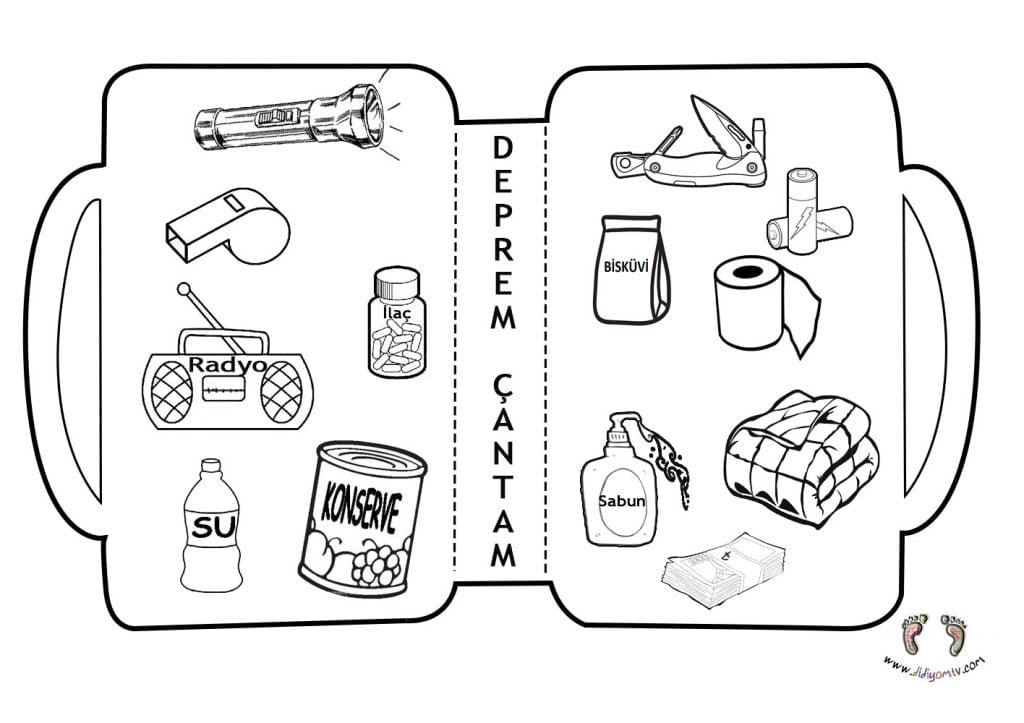 Deprem Çantası-Okul Öncesi Etkinlik-Kes Yapıştır Boya Earthquake Bag-Preschool Activity-Cut Paste Paint