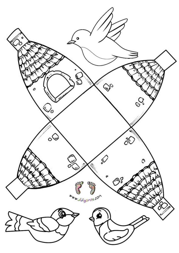 preschool bird house craft - Kuş Evi Kalıbı - Kes Yapıştır Boya -Merhamet Etkinliği