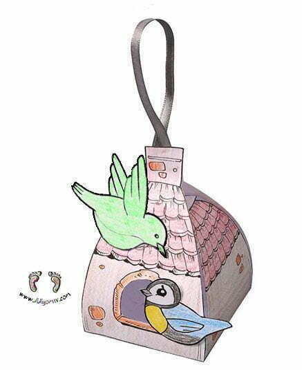 Kuş Evi Kalıbı - Kes Yapıştır Boya - preschool bird house craft- Merhamet Etkinliği