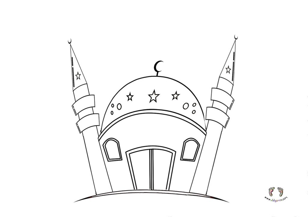 Cami Boyama Sayfası - Mosque Coloring - Cami Çizimi